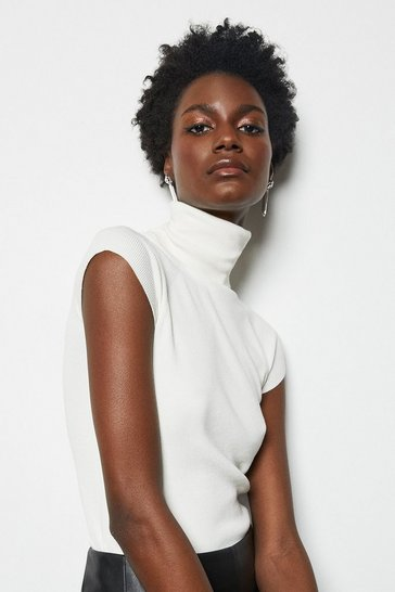 Womens Ivory Essential Roll Neck Sleeveless Jumper