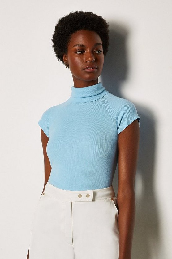 Pale blue Essential Roll Neck Sleeveless Jumper