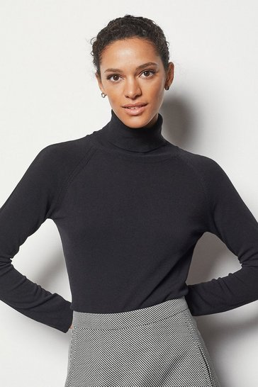 Womens Black Essential Roll Neck Jumper