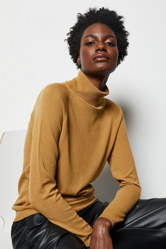 Womens Camel Essential Roll Neck Jumper
