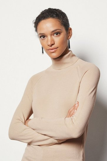 Womens Honey Essential Roll Neck Jumper