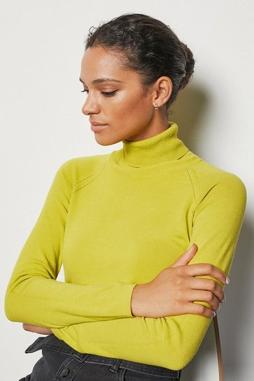 Womens Lemon Essential Roll Neck Jumper