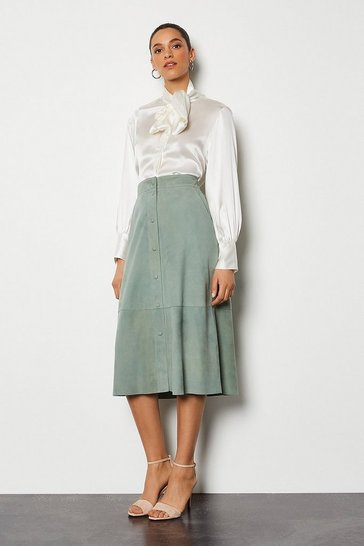 Duck egg Popper Front Suede Midi Skirt