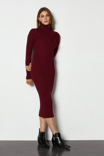 Burgundy Roll Neck Bodycon Dress
