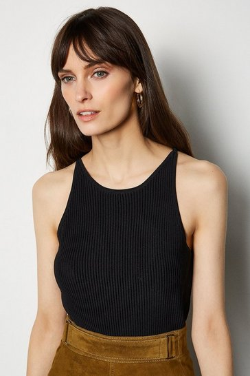 Black Cut Away Vest Top