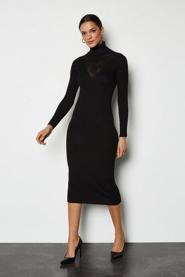Black Roll Neck Bodycon Dress
