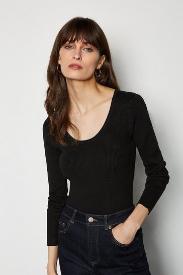 Black Knitted Rib Body