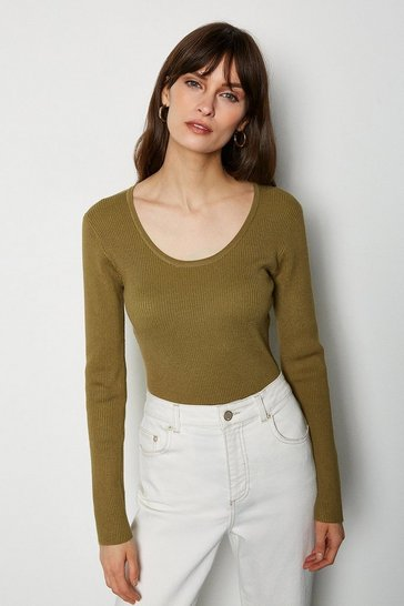 Khaki Knitted Rib Body