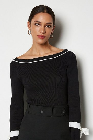 Black Tie Sleeve Wide Neck Jumper