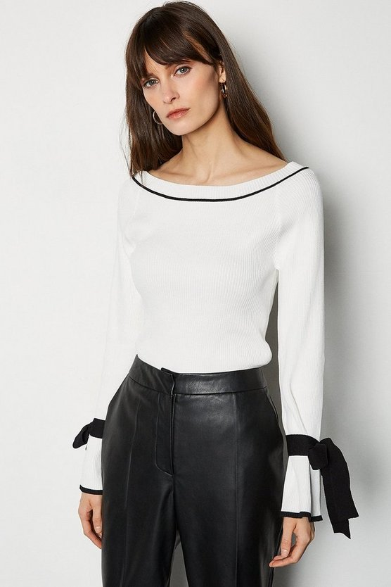 Ivory Tie Sleeve Wide Neck Jumper