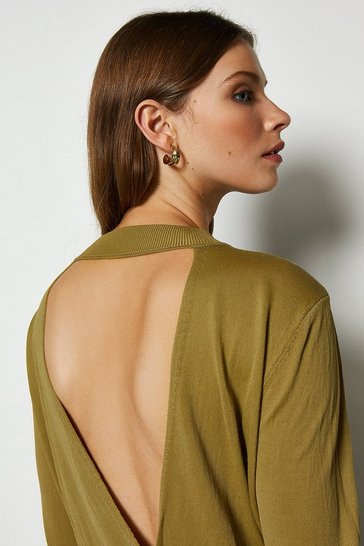 Khaki Wrap Back Jumper