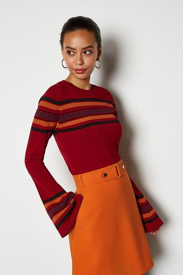 Red Stripe Flared Sleeve Jumper