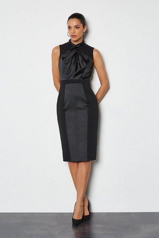 Black Twist Neckline Occasion Dress