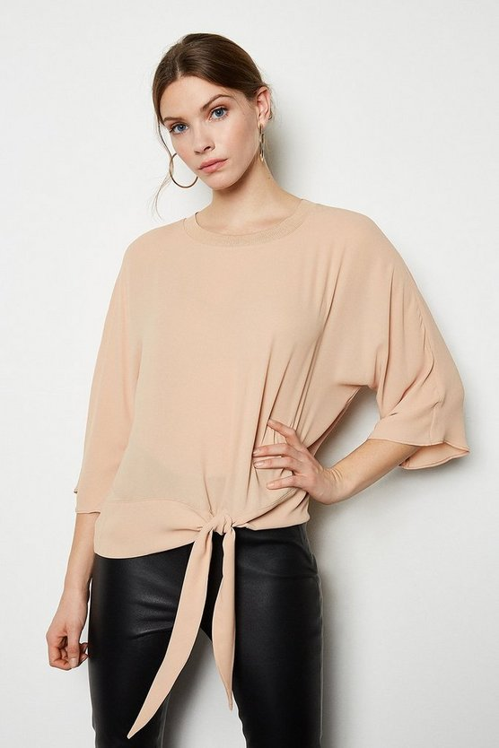Ivory Knit Trim Woven Top