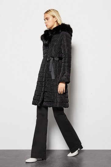 Black Puffer Coat with Faux Fur Trim Hood