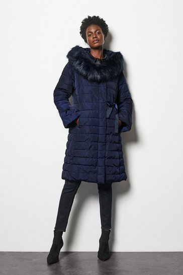 Navy Puffer Coat with Faux Fur Trim Hood