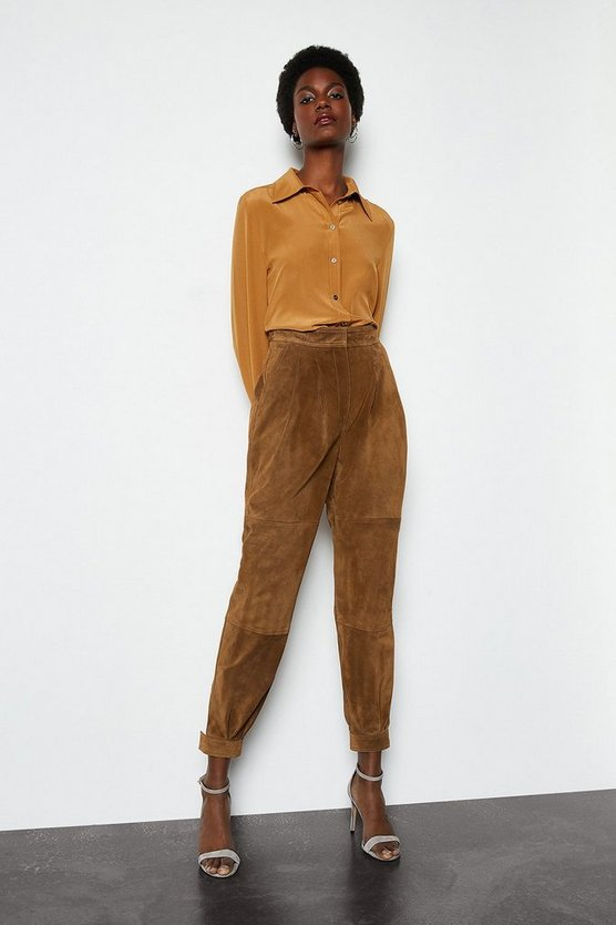 Russet Suede Tapered Trouser