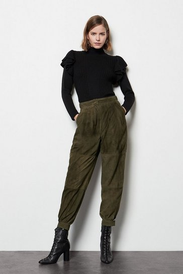 Womens Taupe Suede Cargo Trousers