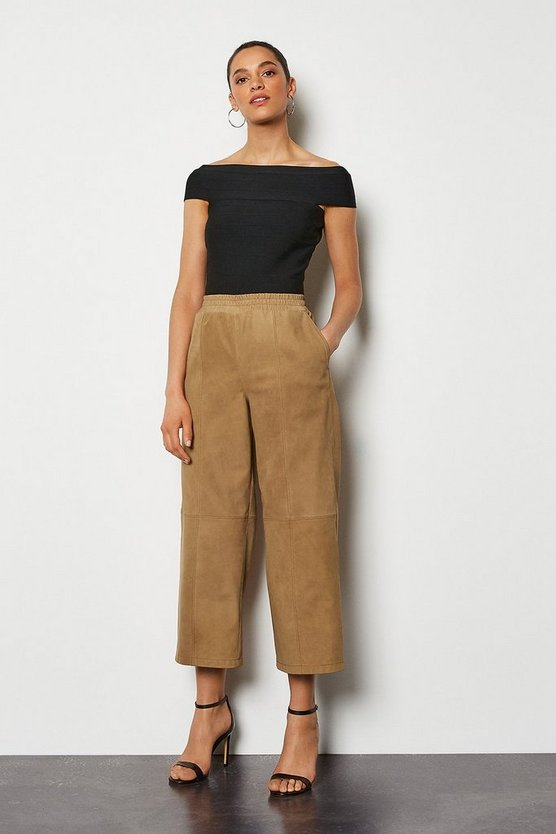 Tan Suede Wide Leg Jogger