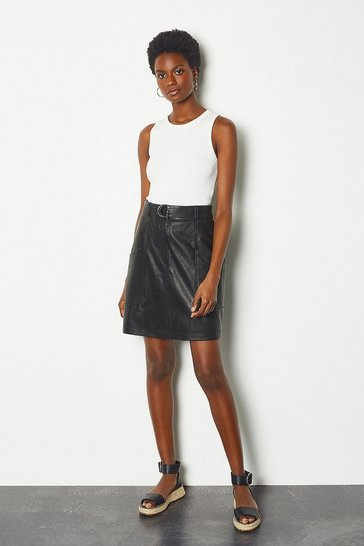 Womens Black Belted Leather Mini Skirt