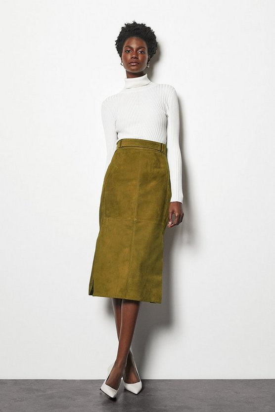 Khaki Suede Side Split Pencil Skirt