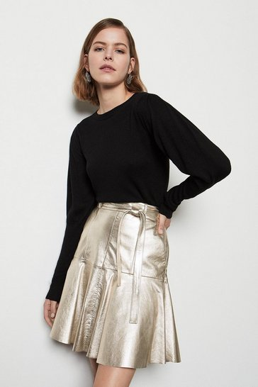 Metal Metallic Leather Flippy Skirt