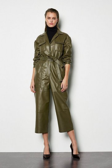 Womens Khaki Leather Long Sleeve Jumpsuit