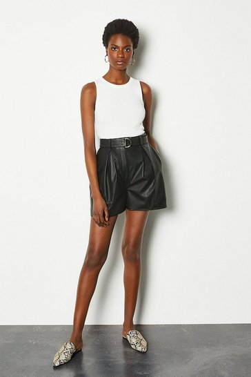 Womens Black Leather Belted Shorts
