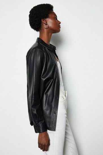 Womens Black Leather Shirt