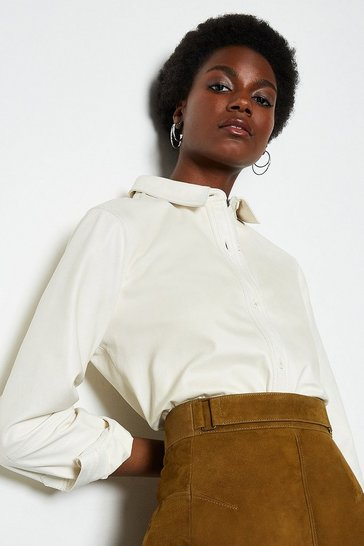 Womens Ivory Leather Shirt