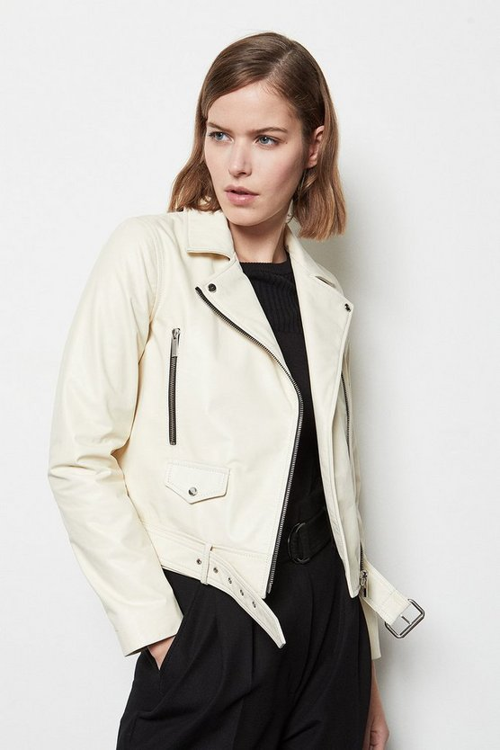 Ivory Belted Leather Biker Jacket
