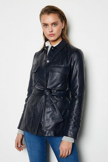 Womens Navy Belted Safari Leather Jacket