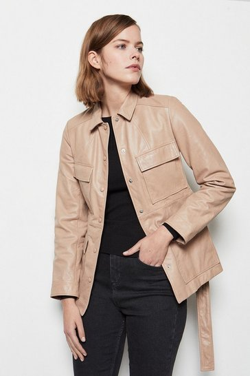 Womens Rose Belted Safari Leather Jacket