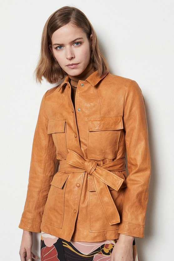 Tan Belted Safari Leather Jacket