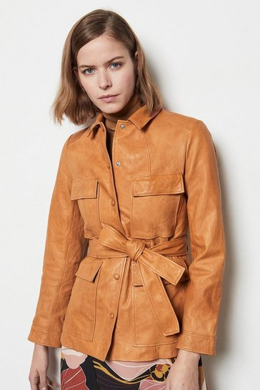 Womens Tan Belted Safari Leather Jacket
