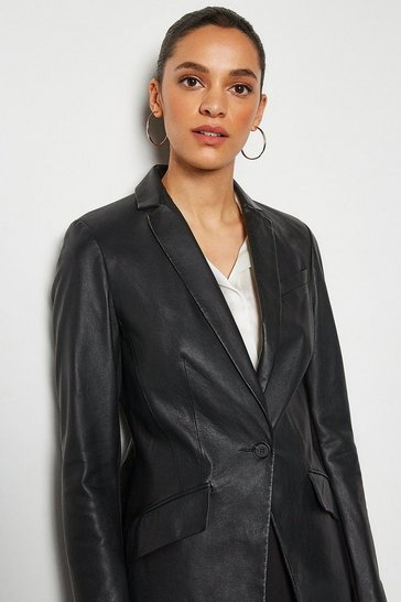 Womens Black Leather Blazer