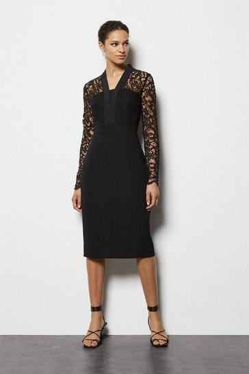 Womens Black Lace Tailoring Dress