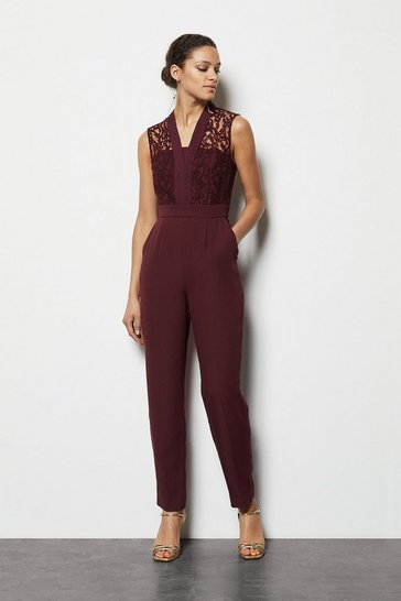 Dark red Lace Tailored Jumpsuit