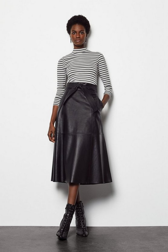 Womens Black Leather Tie Waist Midi Skirt