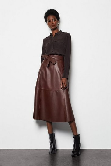 Womens Oxblood Leather Tie Waist Midi Skirt
