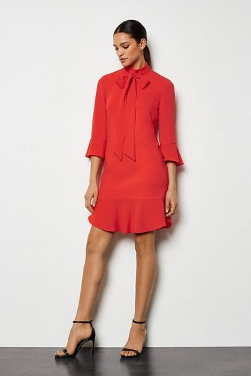 Orange Feminine Frill Dress