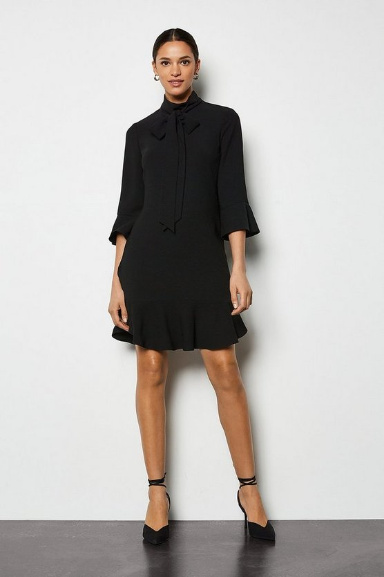 Black Pussybow Frill Dress