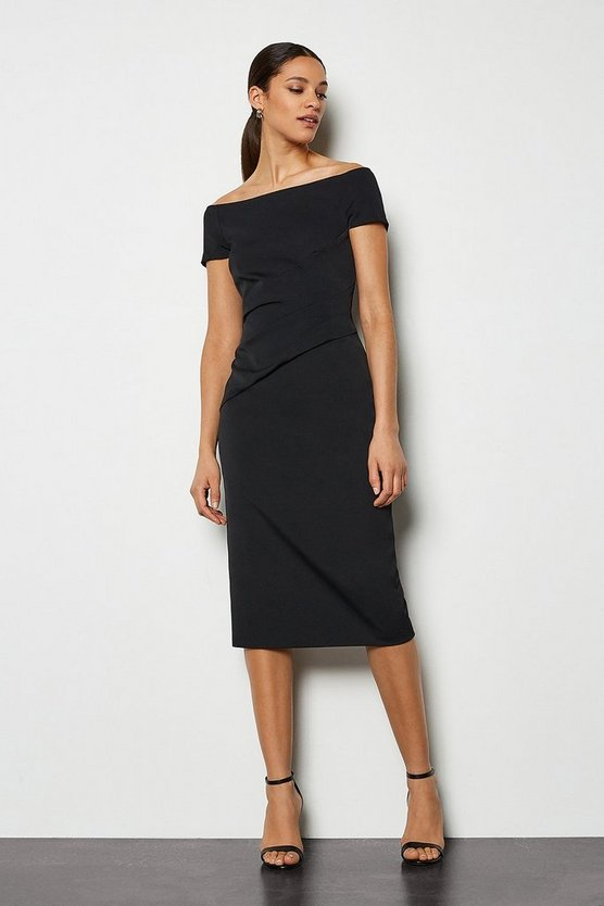 Black Bardot Ruched Midi Dress