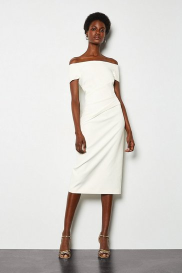 Ivory Bardot Ruched Midi Dress