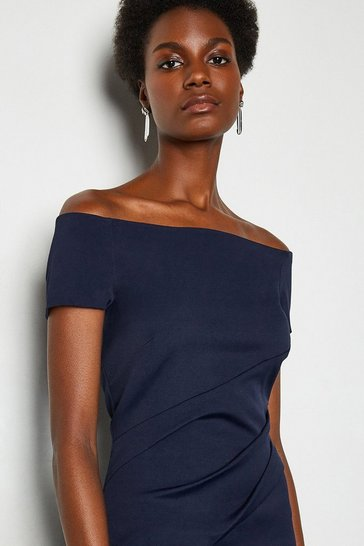Navy Bardot Ruched Midi Dress