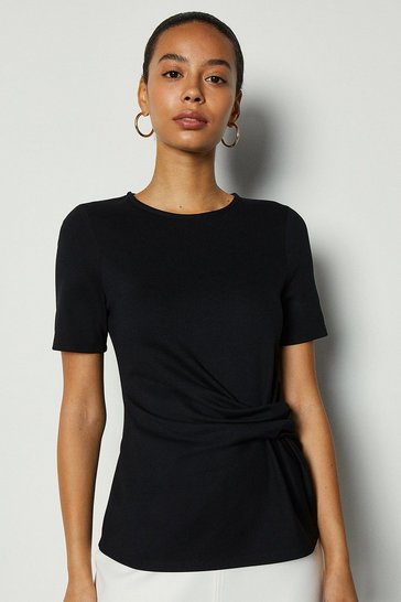 Black Jersey Ponte Drape Short Sleeve Top