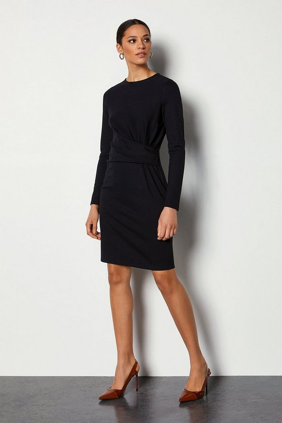 Black Ponte Drape Dress