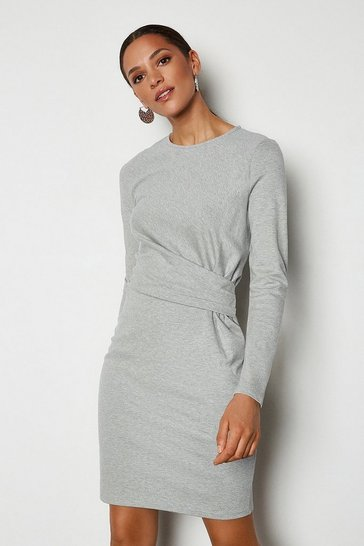 Grey marl Ponte Drape Dress