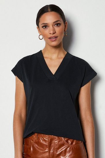 Black Deep V Cap Sleeve T-Shirt