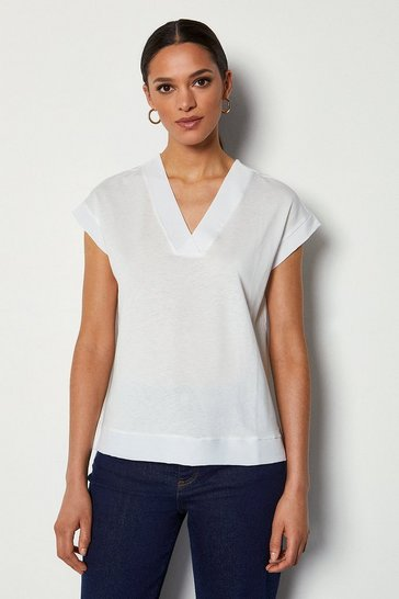White Deep V Cap Sleeve T-Shirt